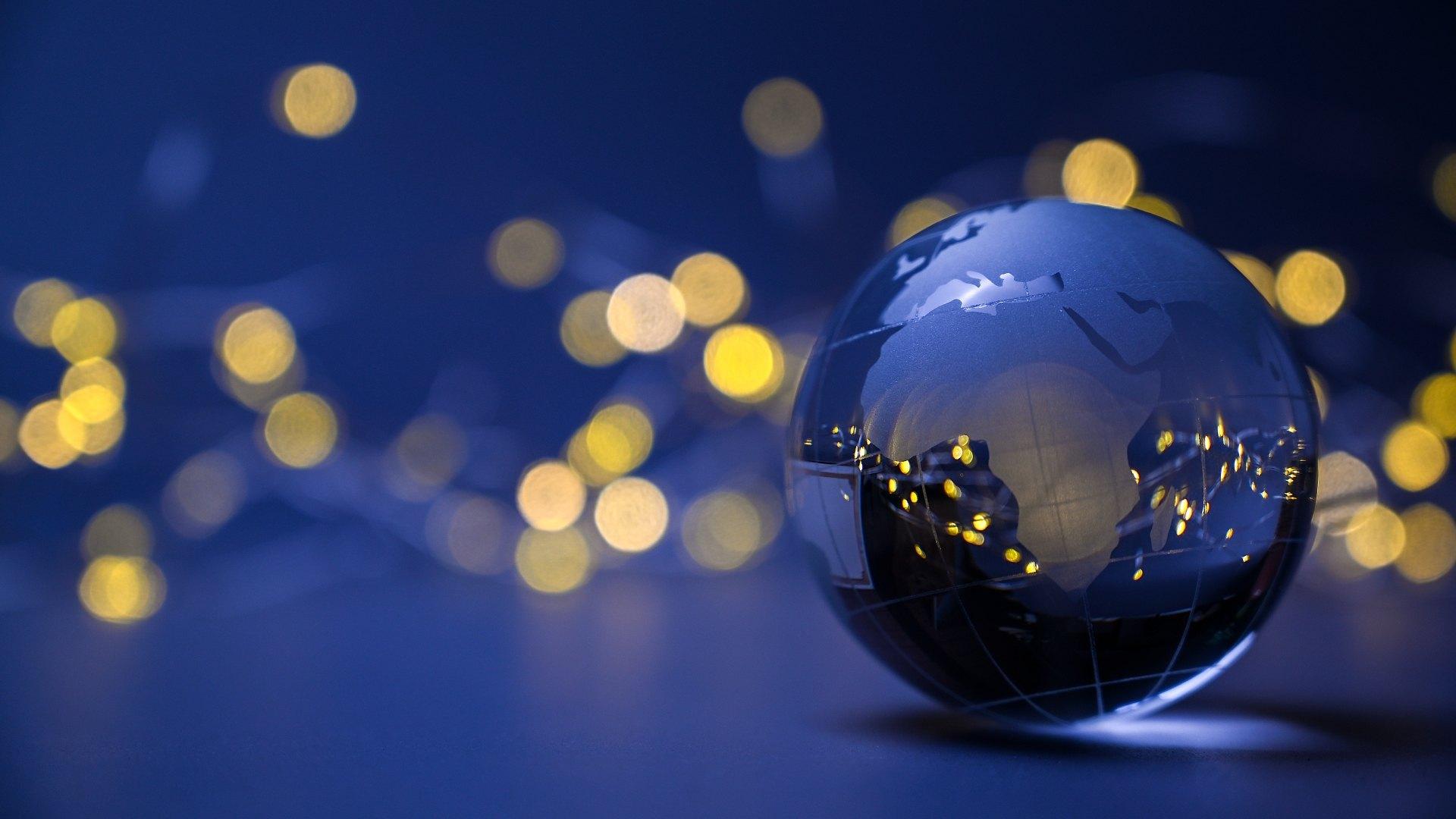 Image of a glass world globe