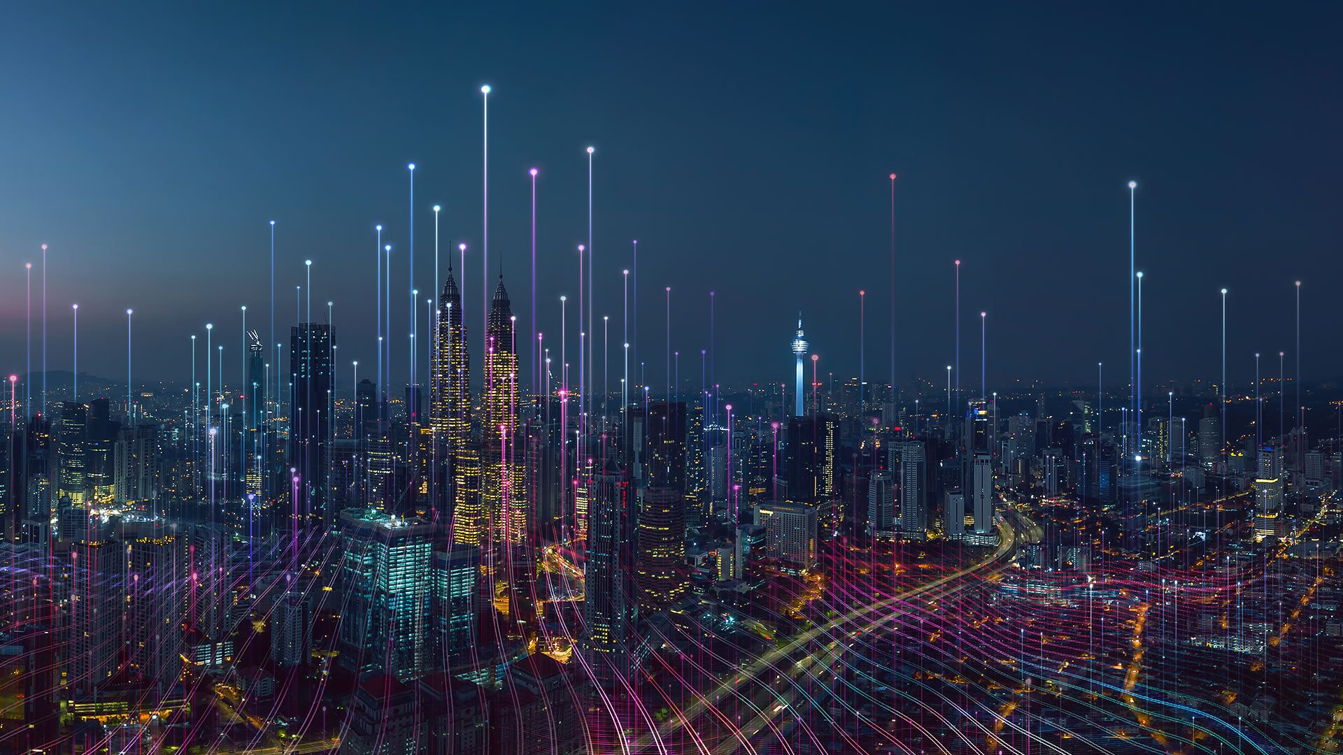 A city skyline showing a network overlay