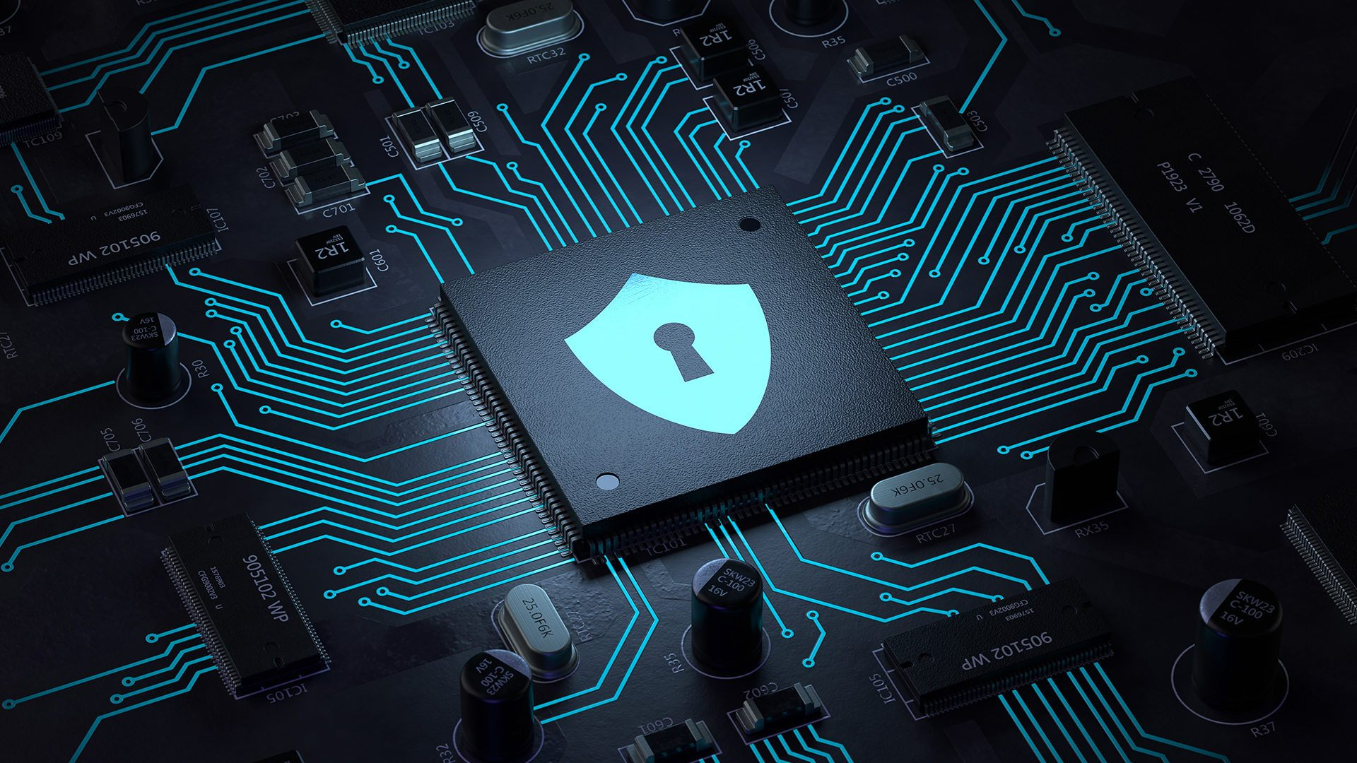 Image of a computer chip with a security lock