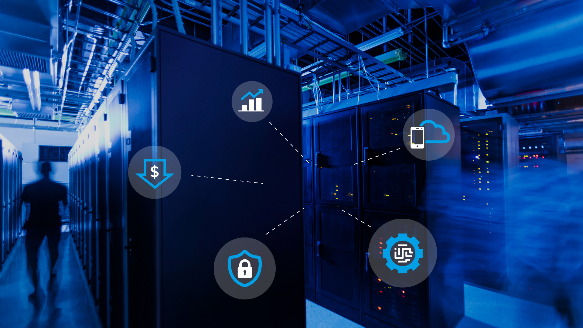 Photo of inside a data center with icon overlaid to represent Azure Stack HCI