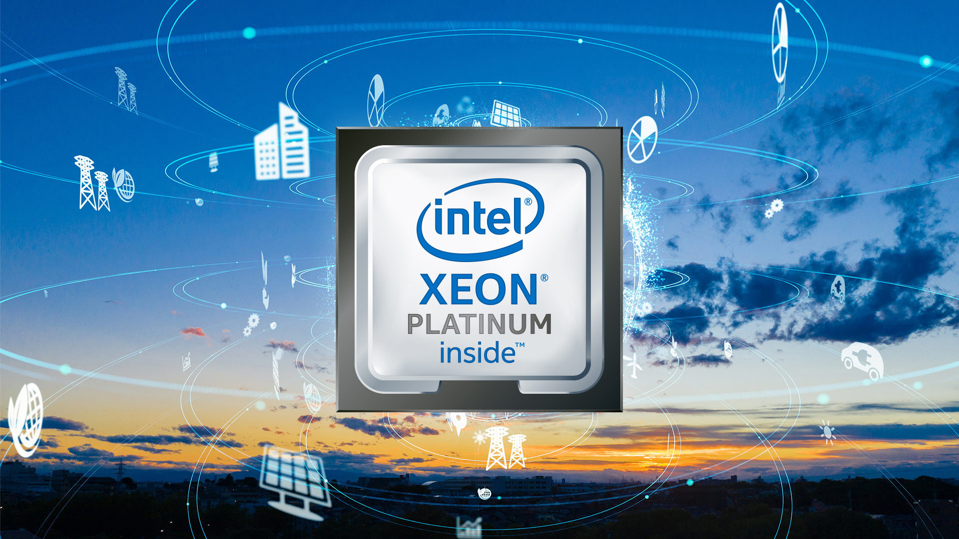 Image of the Intel Xeon Platinum logo in front of a cloudy sky