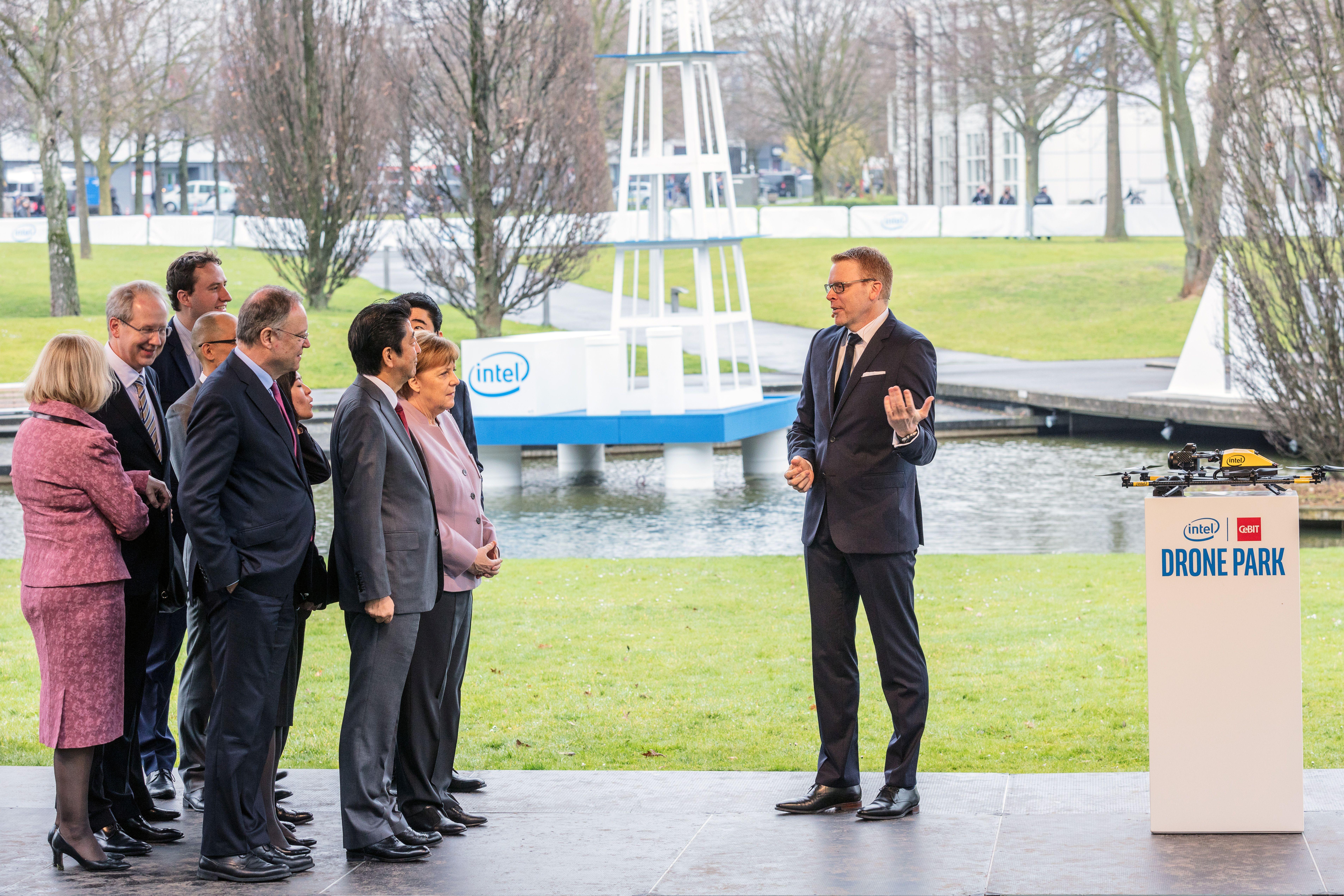 Intel CeBIT Drone Park_Merkel Besuch