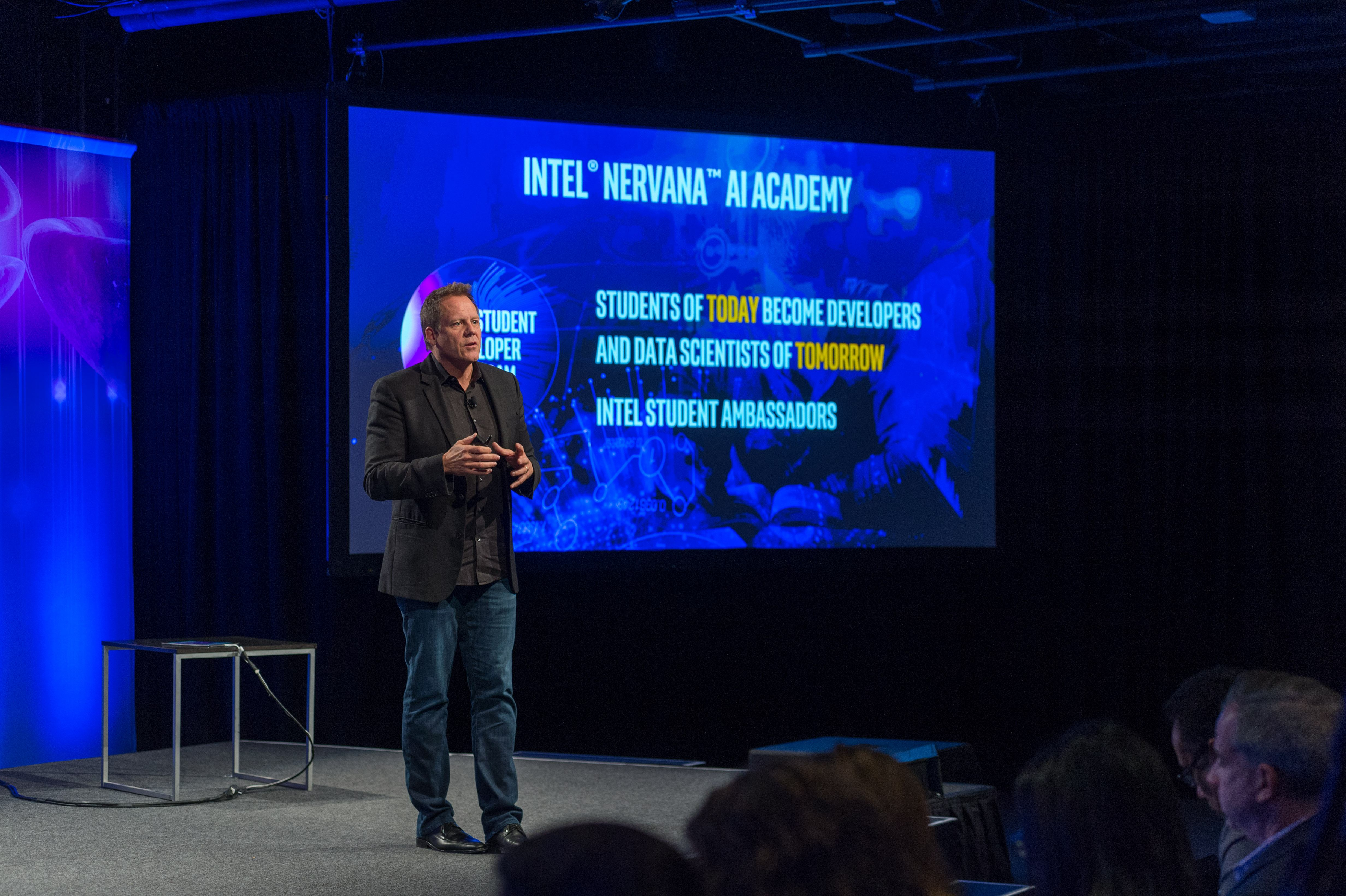 Intel's Doug Fisher introduces the Intel Nervana AI Academy for broad developer access to training and tools