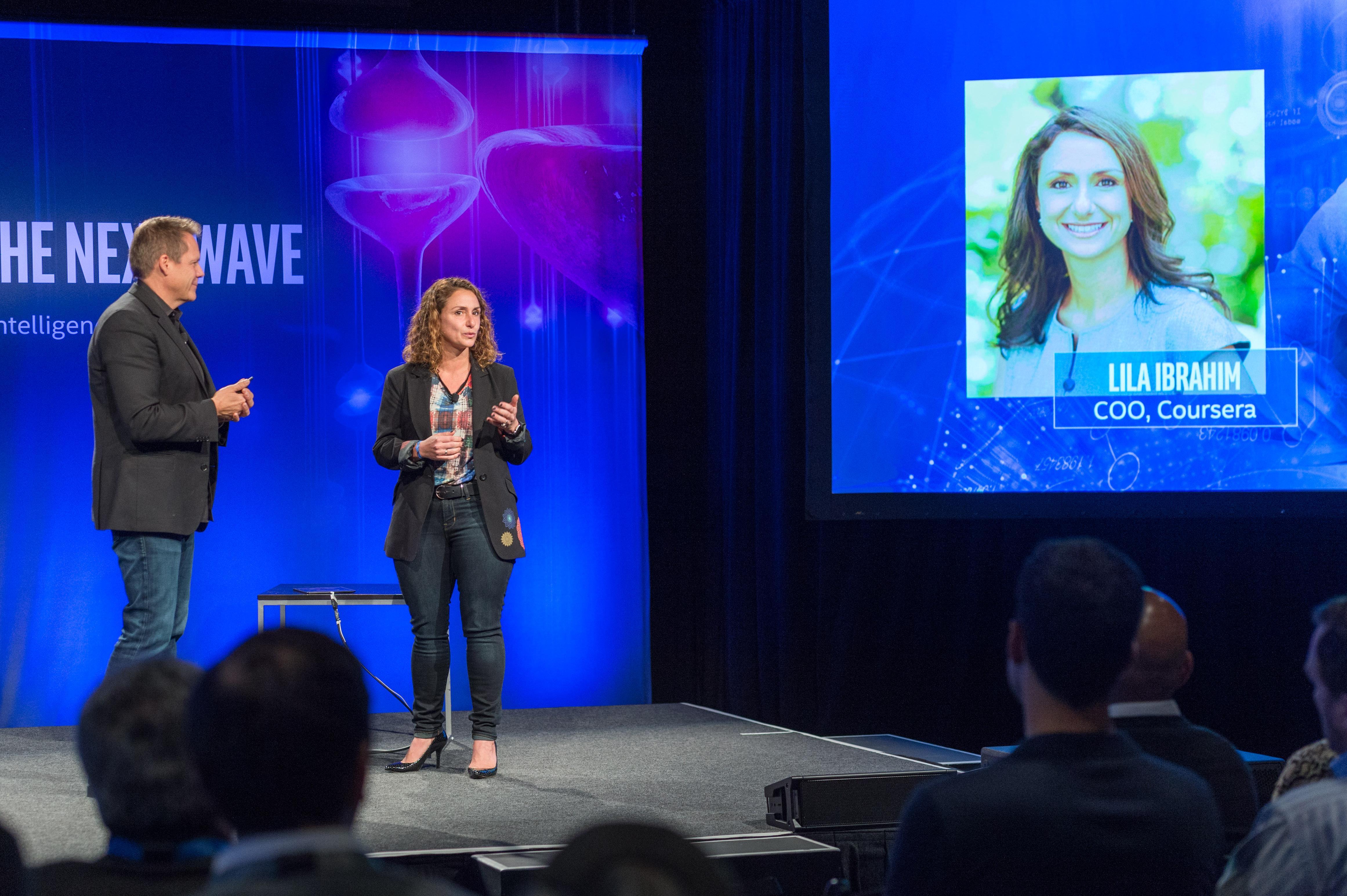 Intel's Doug Fisher (left) and Coursera COO Lila Ibrahim (right)