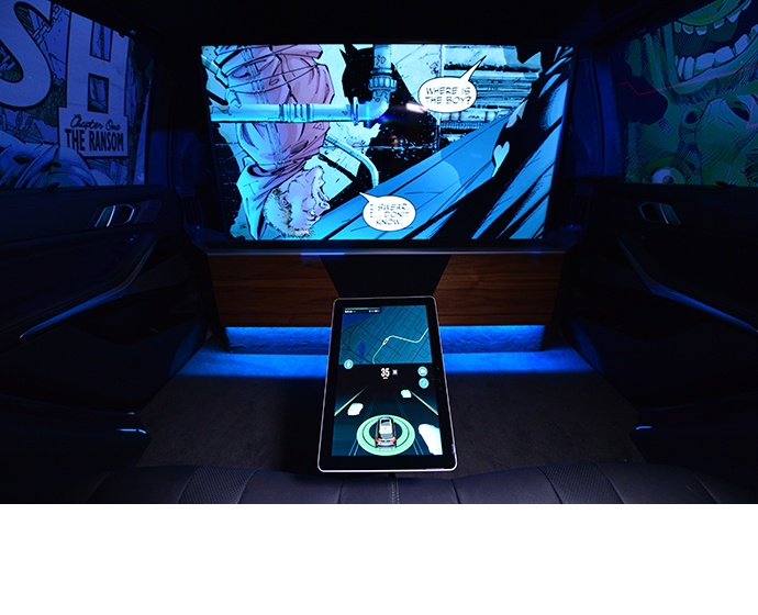 A BMW X5 outfitted by Intel and Warner Bros. offers passengers a