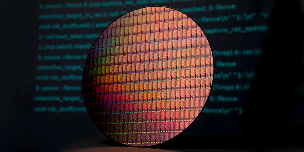Photo of an Intel security wafer