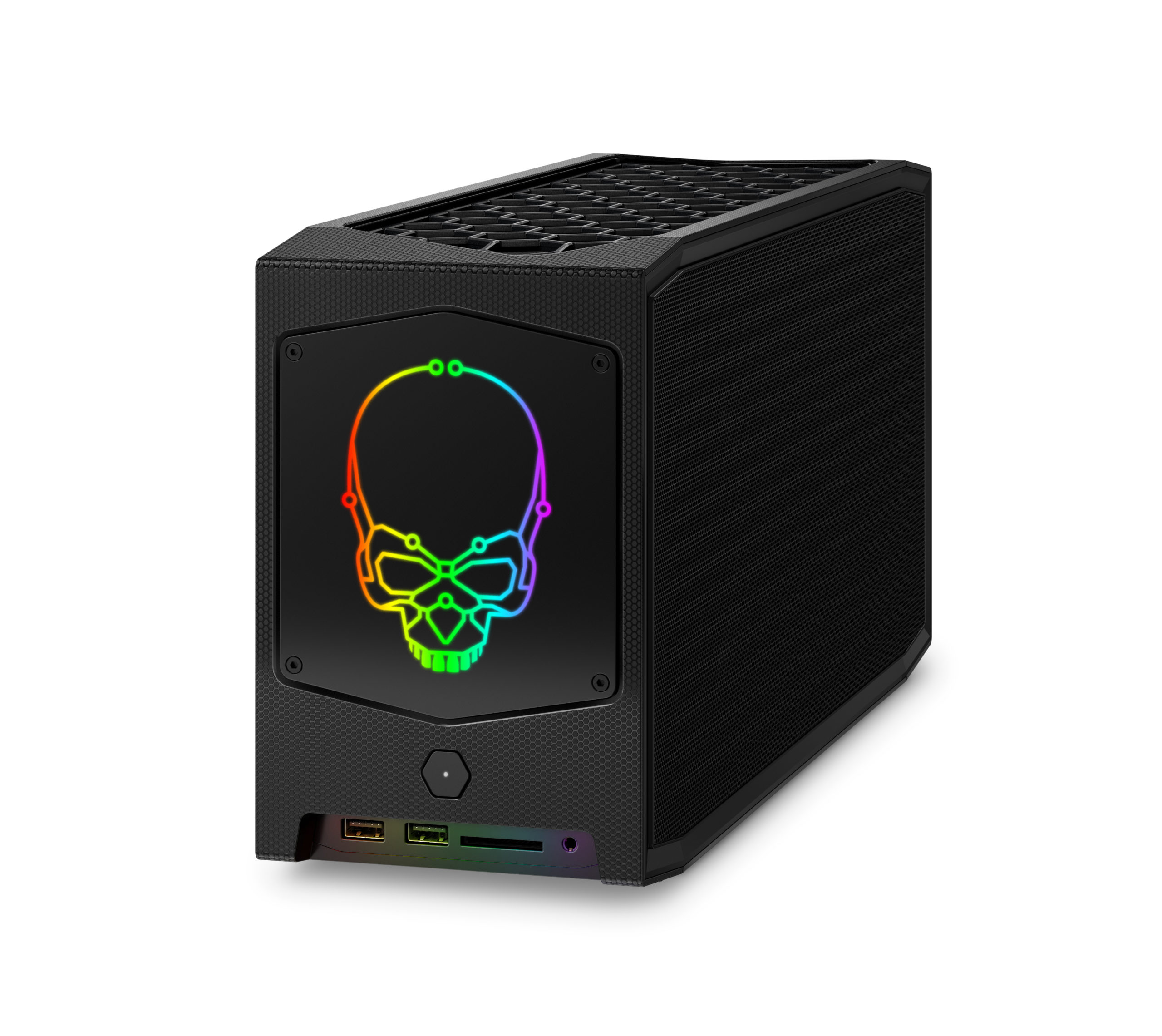 Intel® NUC 11 extreme – front angle with rgb skull