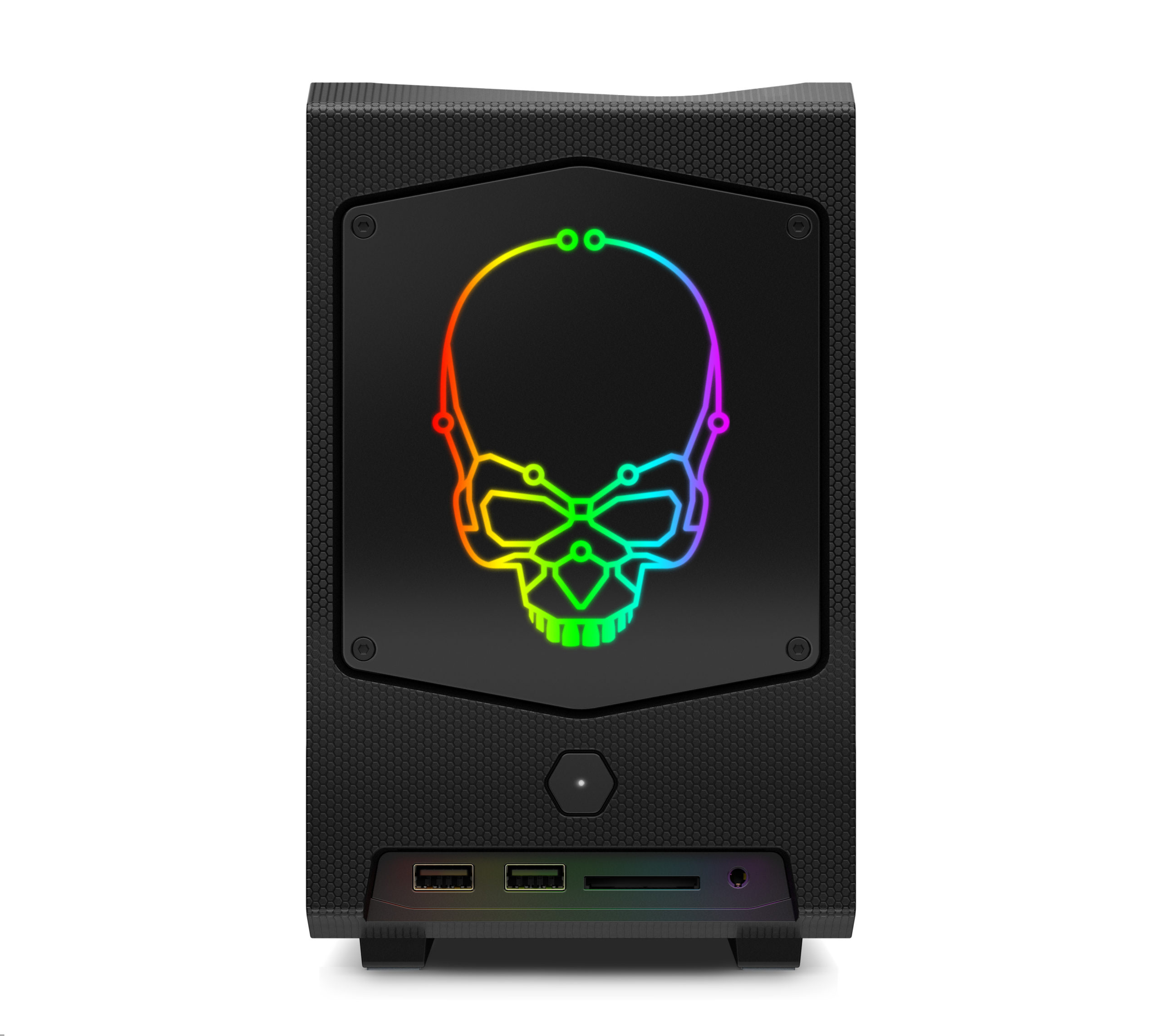 Intel® NUC 11 extreme – front straight with rgb skull
