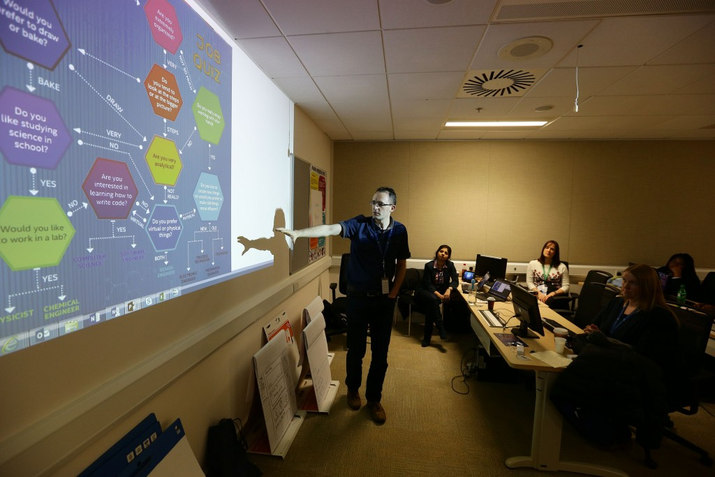 Intel's Kieran Mulqueen is pictured at the Women in Technology workshop at the Intel campus during Engineers Week