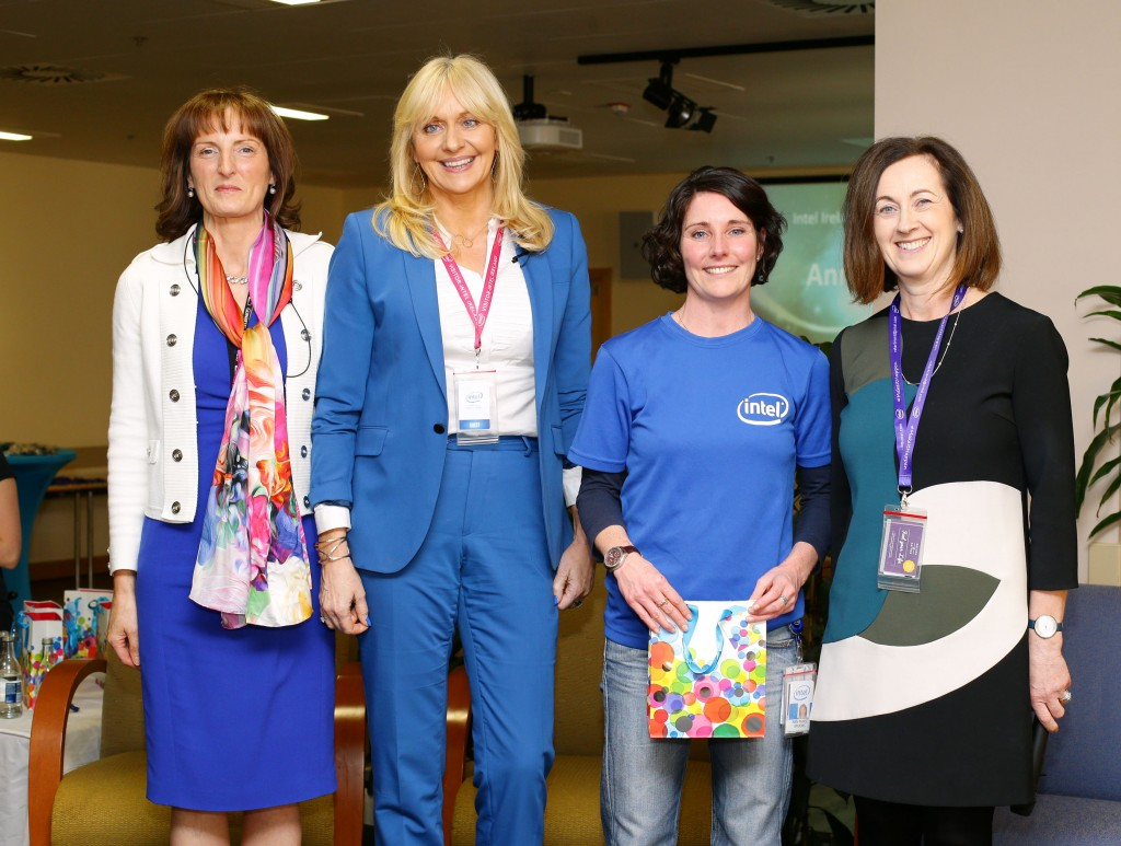 Ann-Marie Brooks from Intel's Talent Acquisition Group receives her award from Miriam O'Callaghan and Intel's Breda O'Reilly and Ann Kelleher