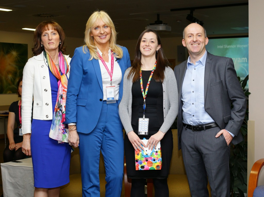 Maryam Tahhan from Intel Shannon receives her award from Miriam O'Callaghan and Intel's Breda O'Reilly and Brian Aherne