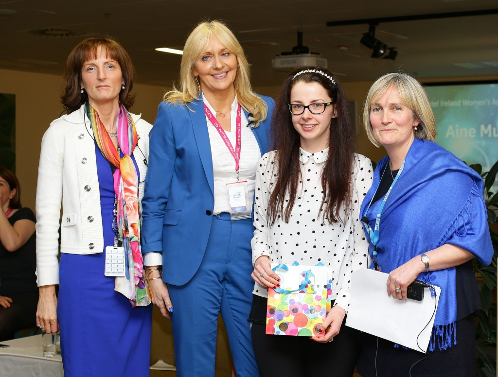 Aine Munroe from Intel's Fab 24 group receives her award from Miriam O'Callaghan and Intel's Breda O'Reilly and Ann-Marie Holmes