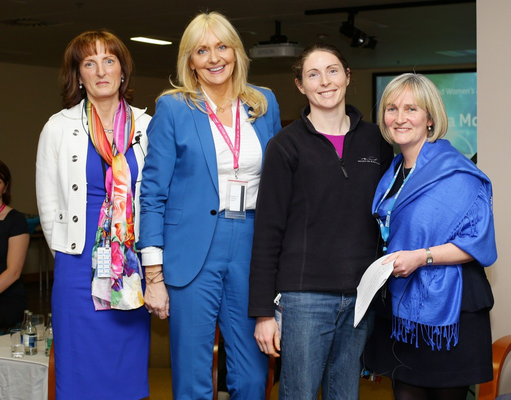 Patricia McLoughlin from Intel's Fab 24 organisation receives her award from Miriam O'Callaghan and Intel's Breda O'Reilly and Ann-Marie Holmes