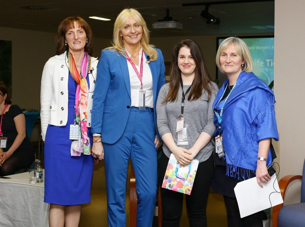 Aoife Tierney from Intel's Fab 24 group receives her award from Miriam O'Callaghan and Intel's Breda O'Reilly and Ann-Marie Holmes