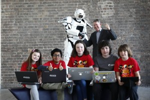 Intel's Paul Phelan is pictured with young innovators at the launch of Coolest Projects 2016