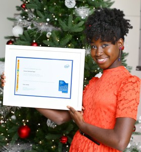 2015 Intel Women in Technology scholarship recipient Eunice OreOluwa Fasan from Dundalk who is studying Computer Science and Language at Trinity College Dublin is pictured receiving her award