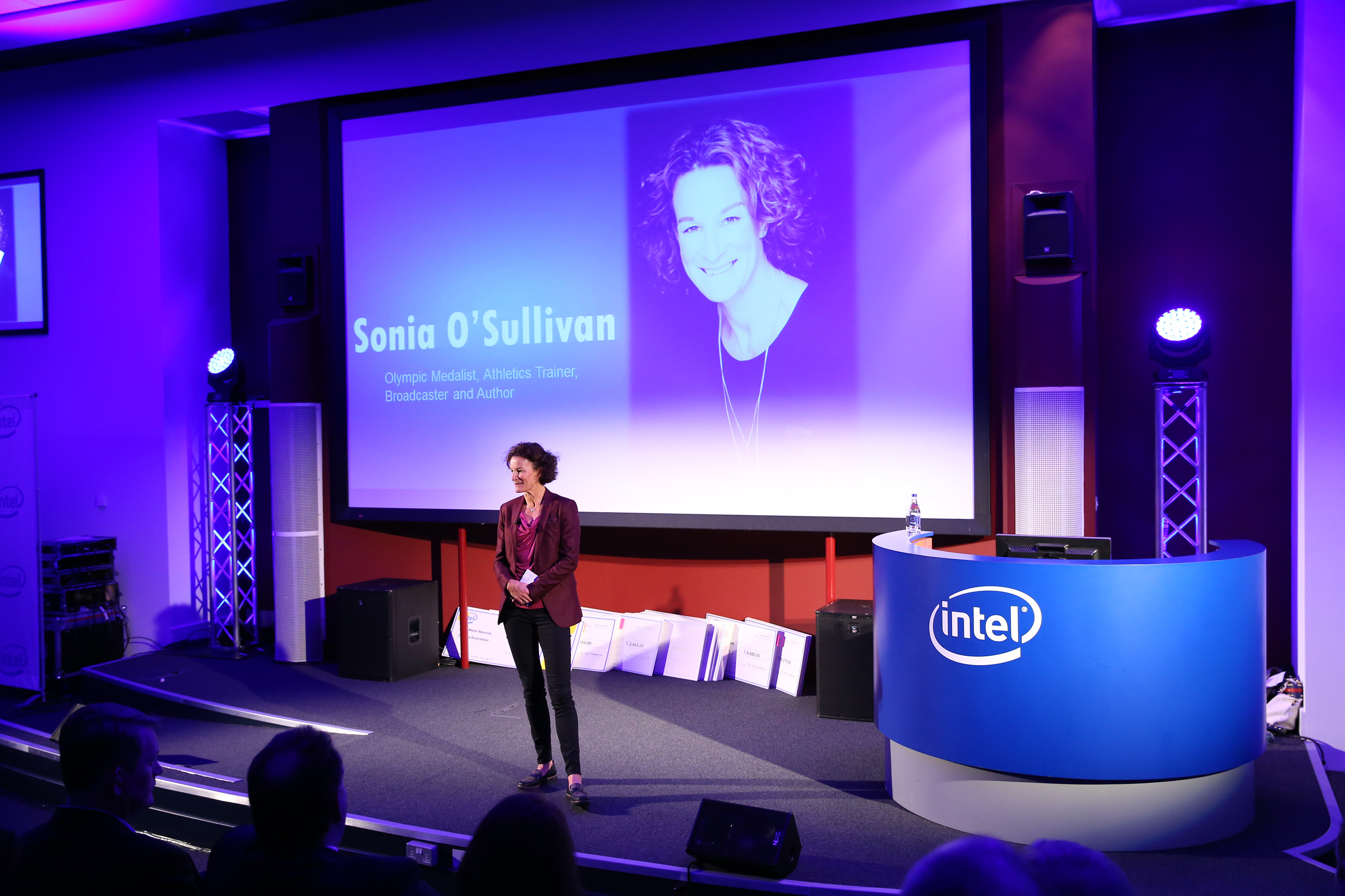 Sonia O'Sullivan addresses the audience at the Intel Matching Grant ceremony