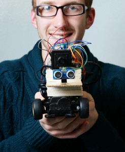 Ronan Watkins from GMIT is pictured with his Data Gathering Car at the final of the Intel 3rd level Galileo competition