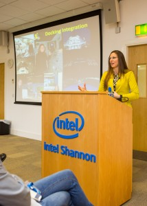 Amber addresses an audience of employees and students at Intel Shannon