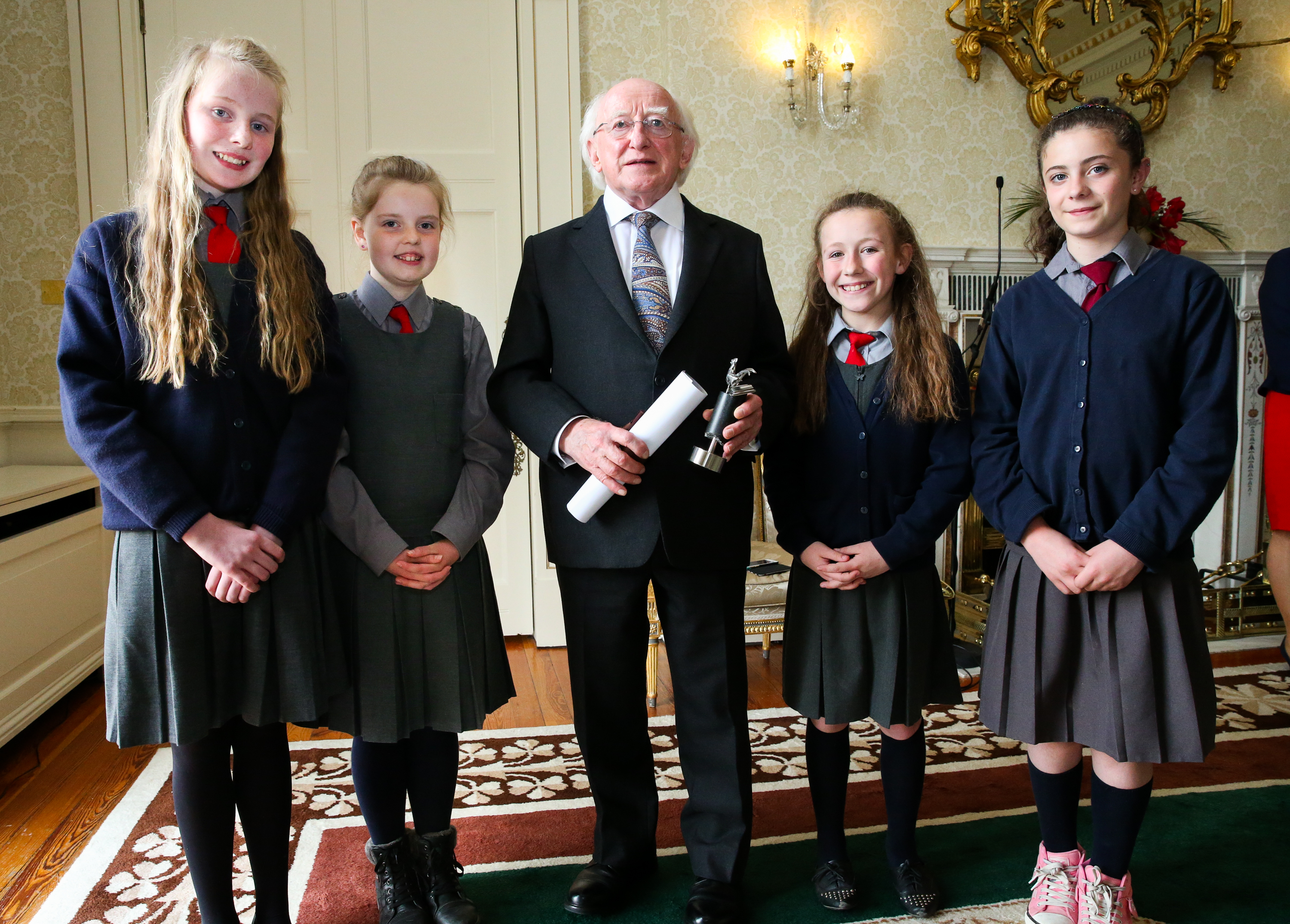 Laura Miller, Sinéad Buggy, Róisín Dunne and Jamie Boyle are pictured with Irish President Michael D. Higgins