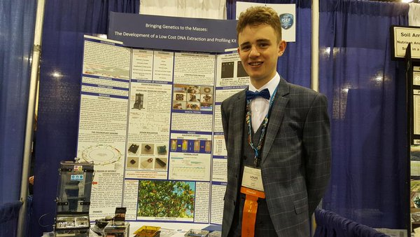 Louis Madden from Largy College in Clones, Co Monaghan is pictured with his project at Intel ISEF