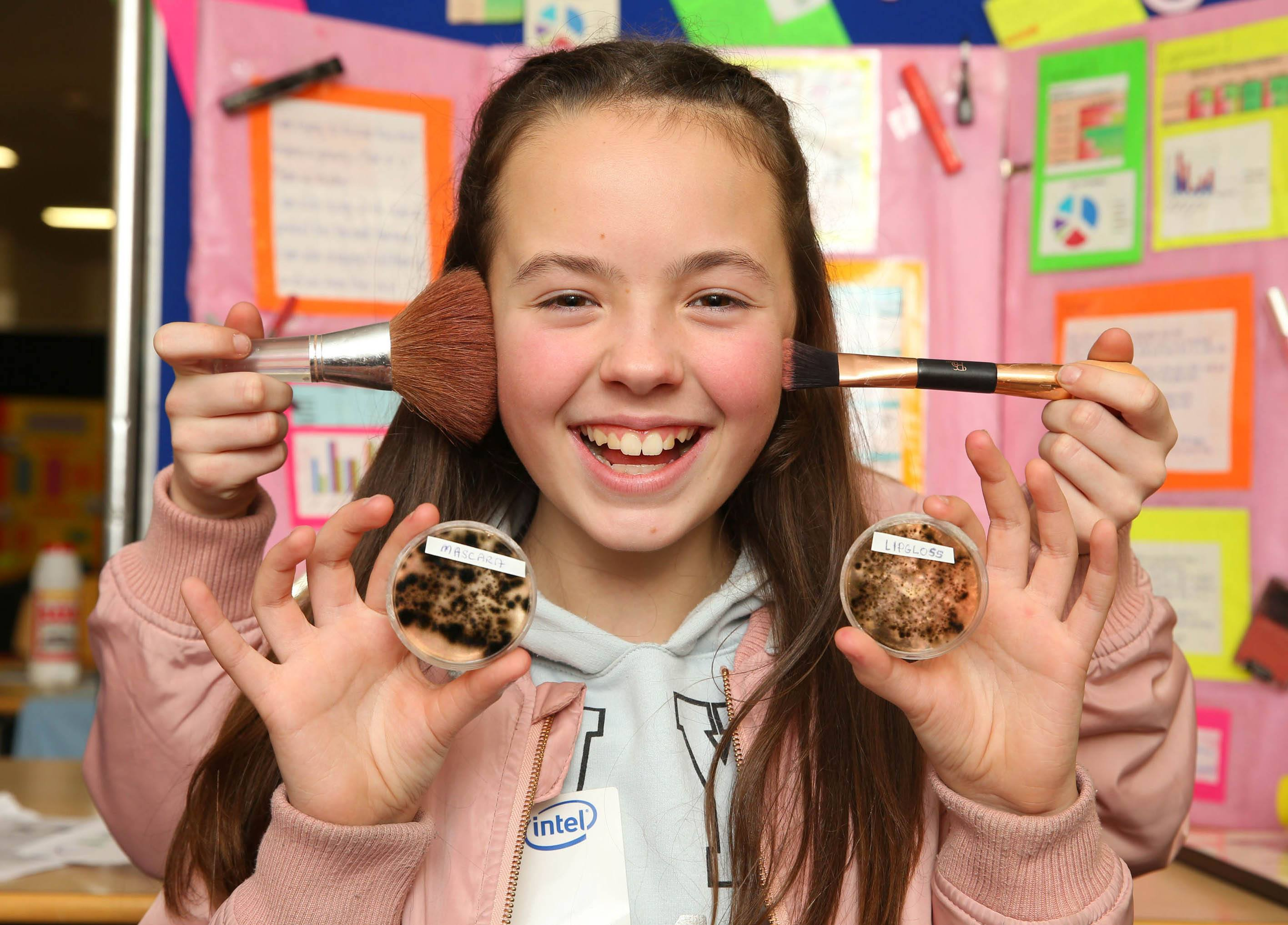 9/12/16 ***NO REPRO FEE*** Sinead O'Dowd aged 11 from Scoil Bhride, Cannistown with her project 'What's growing in make up?' pictured at the Mini Scientist Regional Final which took place on Thursday and Friday at the Intel Ireland site in Leixlip. 78 schools from across the region competed for a place in the grand final which will take place on February the 3rd at the Helix, Dublin. Over the two days, 18 projects were selected to go forward to the next stage. The Intel Mini Scientist Exhibition is a competition for Primary school students in which they develop science related projects which are exhibited at fairs within their own schools. This year, over 6,000 students participated in Mini Scientist from 14 different counties with over 100 different schools taking part. Pic: Marc O'Sullivan