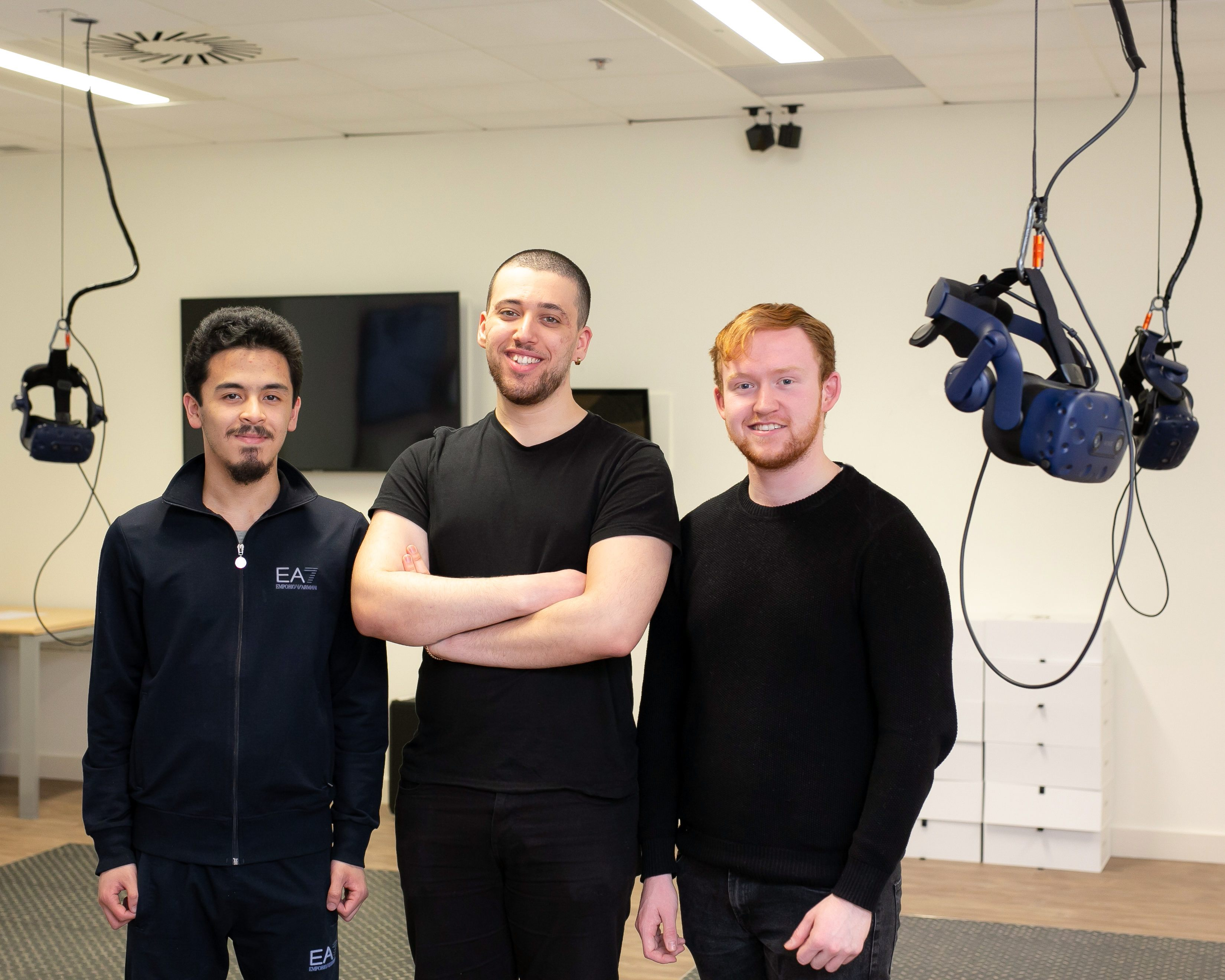 TU Dublin students Reda Ali Mohammed, Eurico Carajote, and Ryan Byrne are pictured at the Intel campus in Leixlip