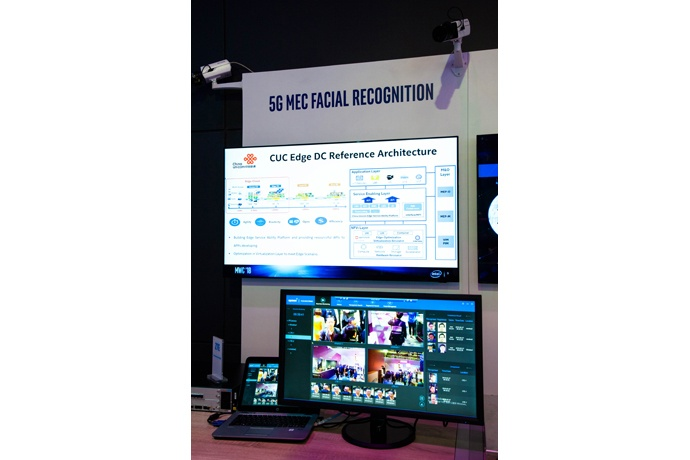 Intel's Mobile World Congress booth on Tuesday, Feb. 27, 2018, s