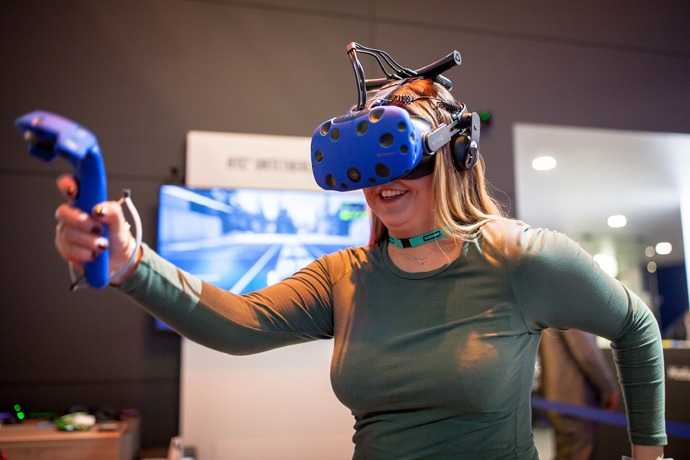 Visitors to Intel's booth at Mobile World Congress on Monday, Fe
