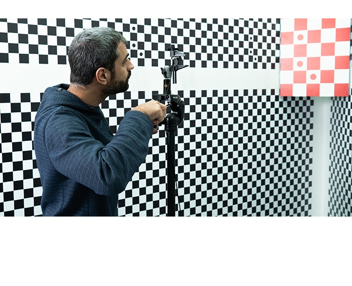 Mobileye employees calibrate cameras at a company lab in Jerusal