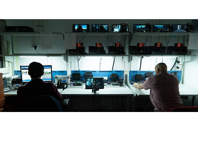 Mobileye employees work in the company's stability lab in Jeru