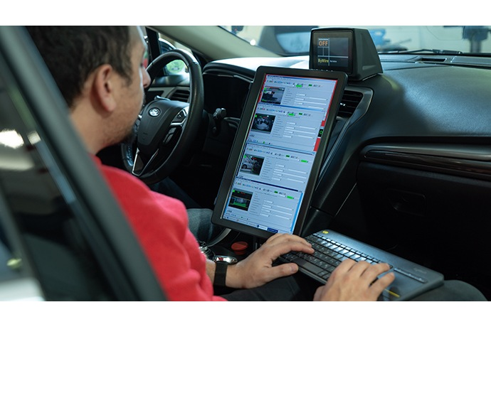 Mobileye employees work in the company's autonomous vehicle wo