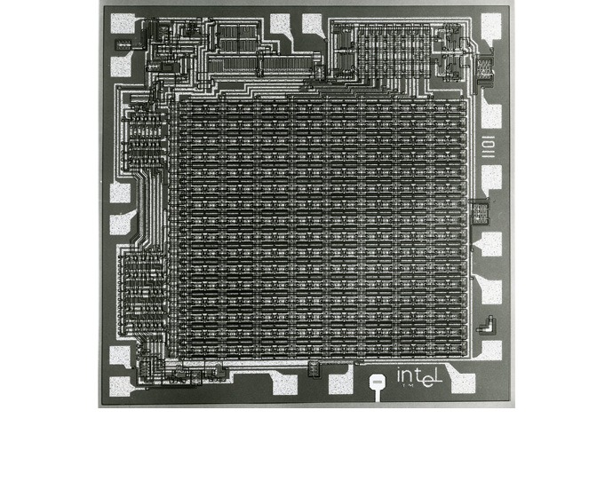 A die shot shows details of the Intel 1101 static random access