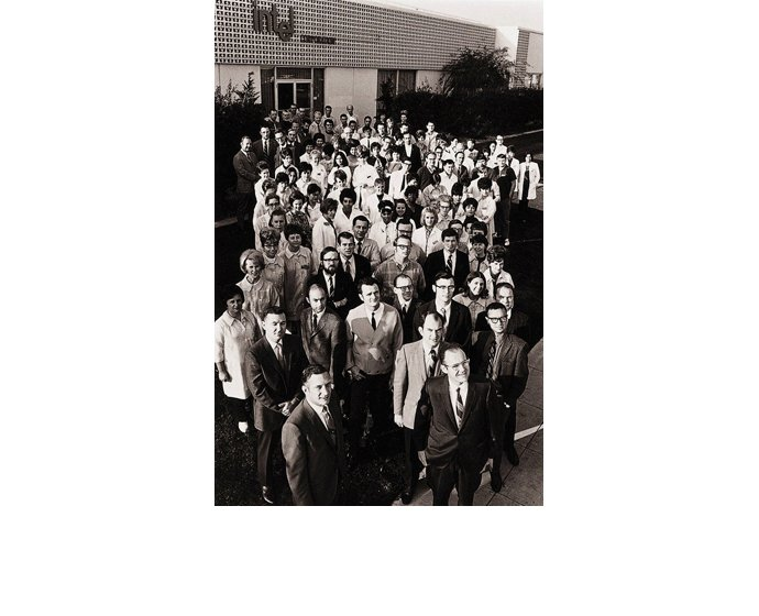 An Intel archive photo shows Intel's first 106 employees, includ