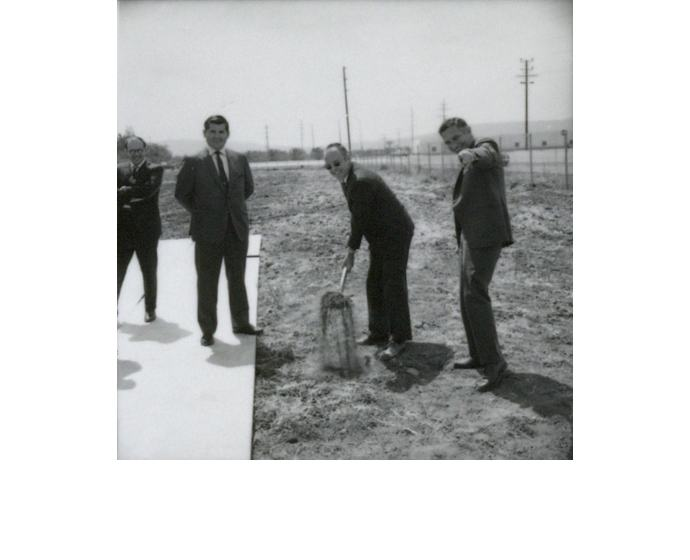 Gordon Moore (with the shovel), Robert Noyce (right) and two uni