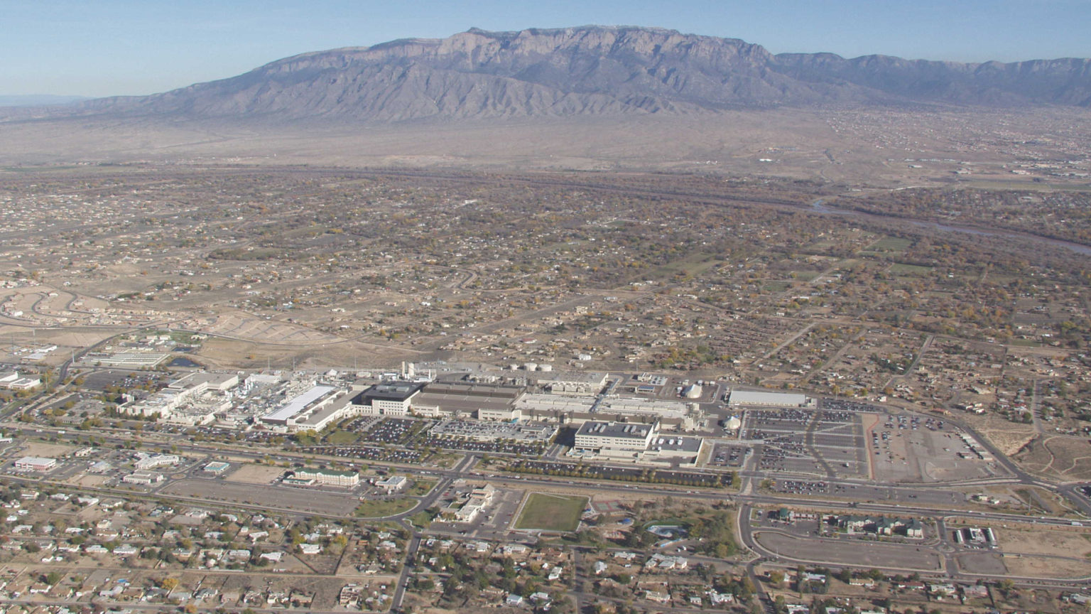 An aerial view shows the Intel Rio Rancho campus in New Mexico,