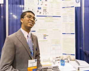 Syamantak Payra, 15, of Friendswood, Texas, received one of two Intel Foundation Young Scientist Awards of US$50,000, for developing a low-cost electronically aided knee brace that allows an individual with a weakened leg to walk more naturally. Intel Corporation and the Society for Science & the Public on May 13, 2016, announced the winners in Phoenix at the Intel International Science and Engineering Fair, the world's largest high school science research competition.
