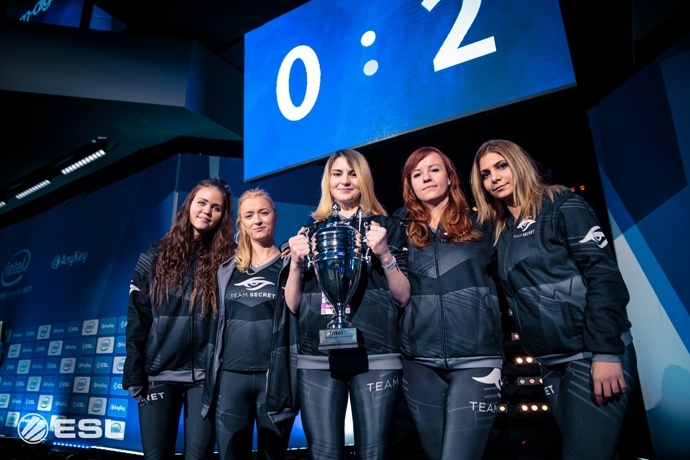 "Team Secret celebrates their win in the third annual Intel Challenge for the best women's ""Counter-Strike: Global Offensive"" teams in Europe and North America. AnyKey, an advocacy organization dedicated to supporting diverse participation in eSports, presented this eight-team tournament in partnership with Intel and ESL. (Credit: ESL 