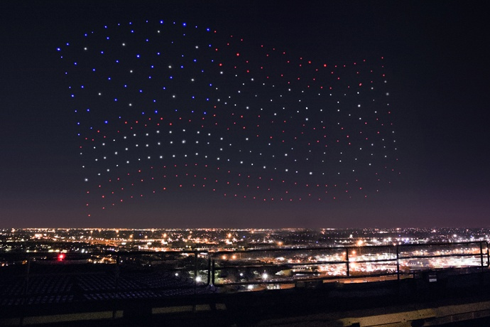Intel Shooting Star drones light up the sky in an American Flag formation during the Pepsi Zero Sugar Super Bowl LI Halftime Show. (Credit: Intel Corporation)
