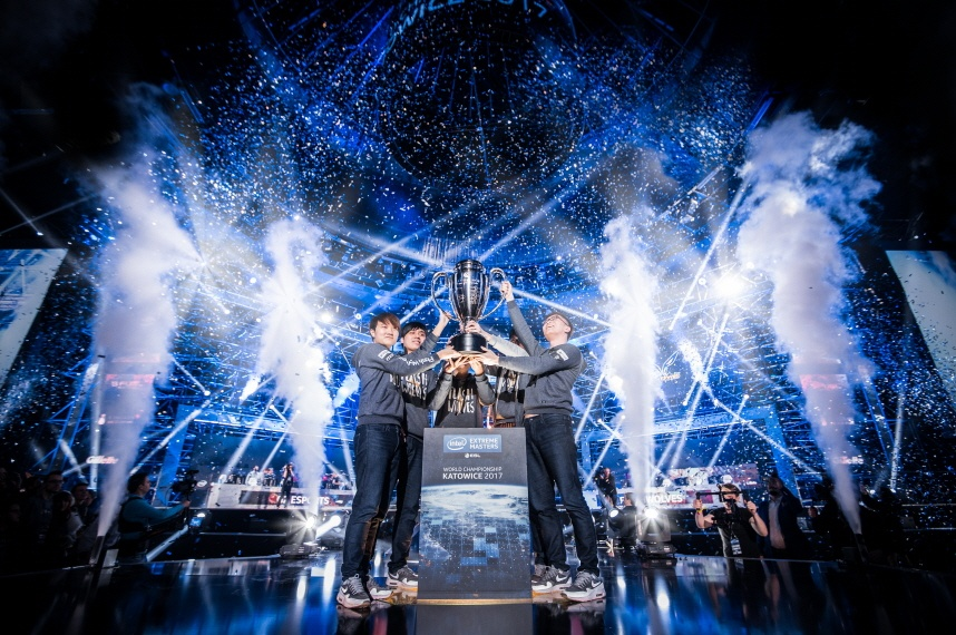 """Flash Wolves celebrate their victory at the Intel Extreme Masters World Championship competition on Sunday, Feb. 26, 2017, in Katowice, Poland. Eight """"League of Legends"""" teams competed at Intel Extreme Masters Katowice culminating in the best-of-five grand finals. Flash Wolves came out ahead over G2 Esports to become the 2017 """"League of Legends"""" Intel Extreme Masters World Champions during the finals of the 11th season. (Credit: ESL 