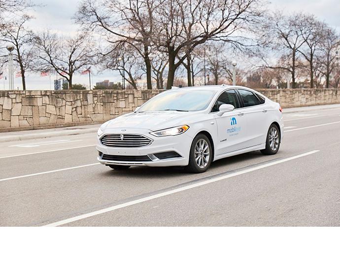 A self-driving vehicle from Mobileye's autonomous test fleet nav