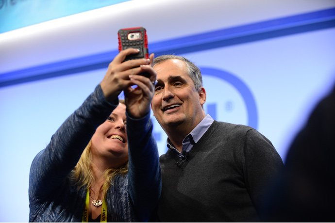 Brian Krzanich, Intel chief executive officers, poses for a phot