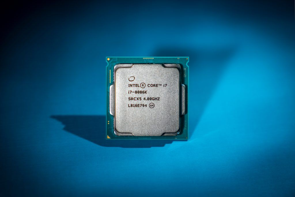 A photo of the Intel 8086k processor. (Credit: Intel Corporation)