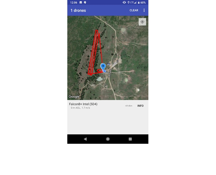 The Open Drone ID mobile application shows the path an Intel Fal
