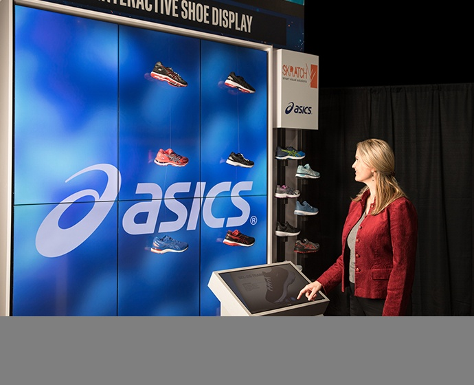 The ASICS Interactive Shoe Display uses a touchscreen totem to a