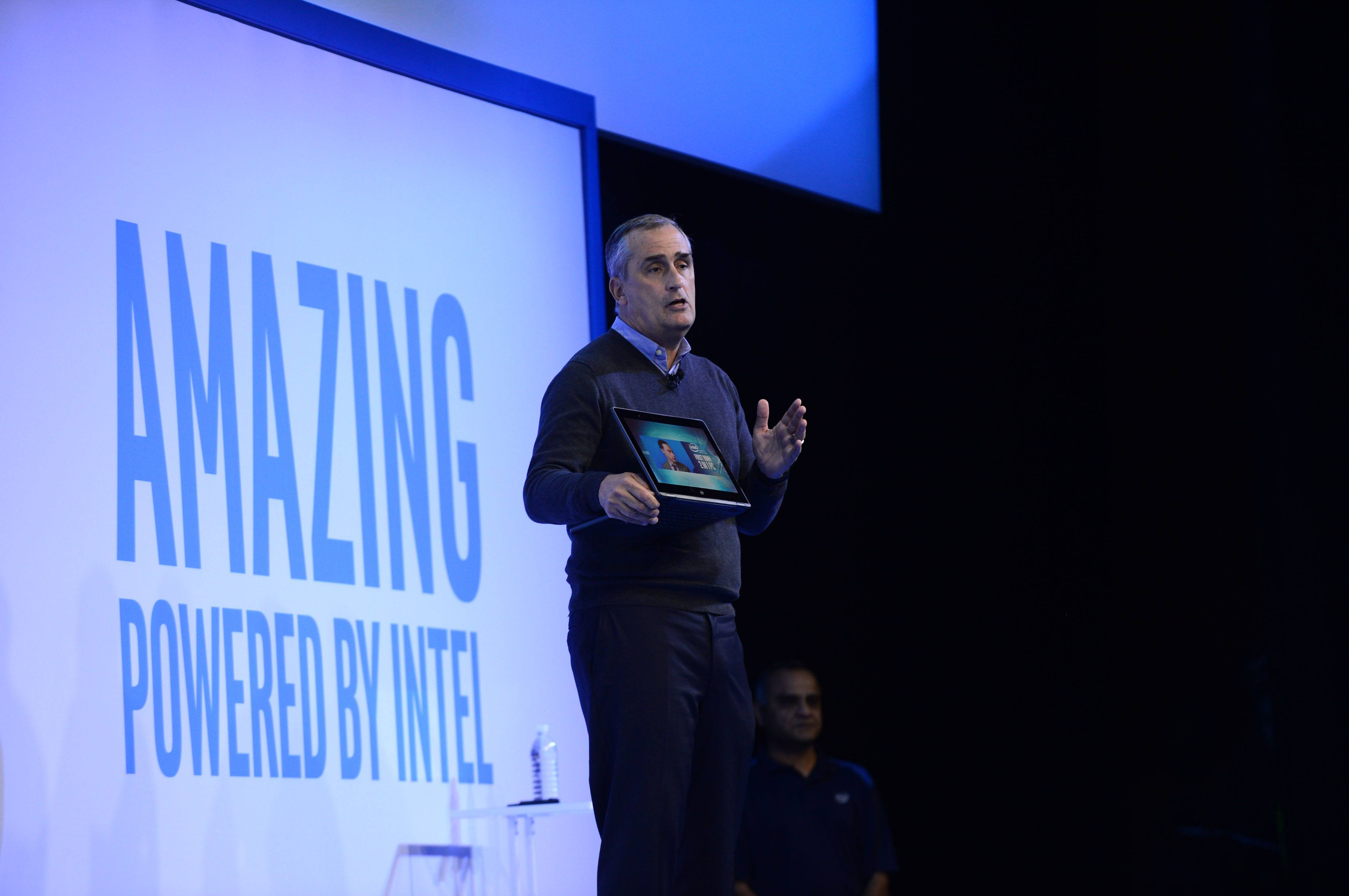 Brian Krzanich, Intel chief executive officers, displays a 2 in 1 powered by the company's new 10-nanometer processor during a company news conference on Wednesday, Jan. 4, 2017, in Las Vegas. Intel Corporation presents new technology at the 2017 International Consumer Electronics Show. The event runs from Jan. 5 to Jan. 8, 2017, in Las Vegas. (CREDIT: Walden Kirsch/Intel Corporation)