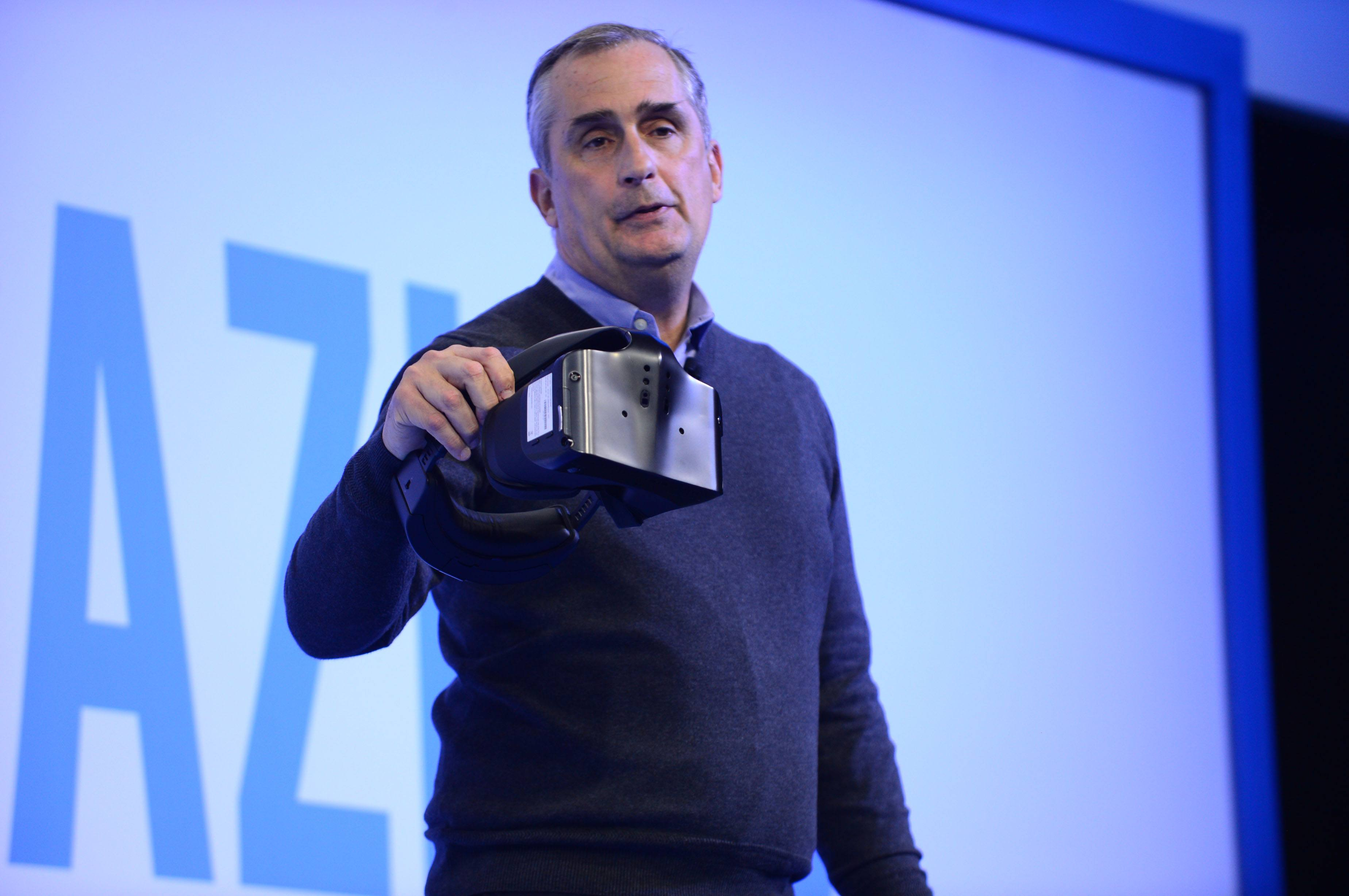 Brian Krzanich, Intel chief executive officers, displays the Project Alloy all-in-one virtual reality headset at a company news conference on Wednesday, Jan. 4, 2017, in Las Vegas. Intel Corporation presents new technology at the 2017 International Consumer Electronics Show. The event runs from Jan. 5 to Jan. 8, 2017, in Las Vegas. (CREDIT: Walden Kirsch/Intel Corporation)