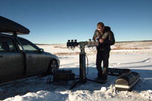 Nick Risinger with his 6-camera setup at work in Colorado. (Image courtesy of Nick Risinger)