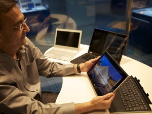 USB co-inventor Ajay Bhatt with detachable touch enabled PC