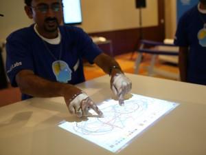 Vivayak Honkote demonstrates tabletop touchscreen interface